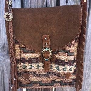 🌻 Lucky Brand Western Boho Leather Crossbody Bag